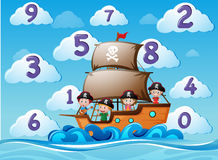 Counting numbers with children on ship vector illustration