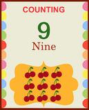 Counting numbers 9. Illustration of counting numbers nine depicting mango. Visit: https://graphixandcode.com vector illustration