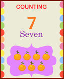 Counting numbers 7. Illustration of counting numbers seven depicting mango. Visit: https://graphixandcode.com vector illustration