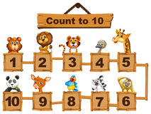 Counting numbers one to ten with animals Stock Photo