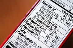 Counting Nutrition. Nutrition information chart from a package of baking mix Stock Images