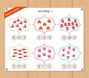 Counting object for kids - Education worksheet Stock Images
