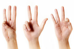Counting from one to five with fingers Royalty Free Stock Photo