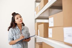 Counting packages royalty free stock images