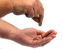 Counting the pennies Royalty Free Stock Photo