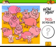 Counting pigs animals educational game Stock Photography