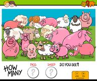 Counting pigs and sheep educational game for kids Royalty Free Stock Images