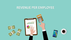 Counting revenue per employee with paperwork and calculator on top of table illustration Royalty Free Stock Images