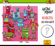 Counting robots educational game for kids Royalty Free Stock Photography