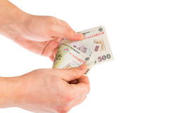 Counting RON money. Man hands counting romanian lei Royalty Free Stock Images