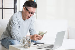 Counting on saving for retirees financial planning Stock Image