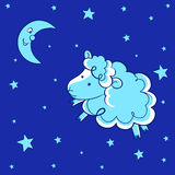 Counting sheep. A illustration of counting sheep design Stock Photography