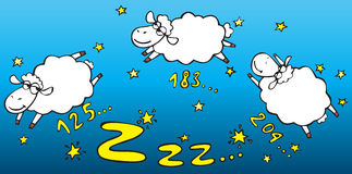 Counting sheep. Three sheeps jumping in the night sky Royalty Free Stock Photos