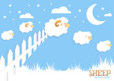 Counting sheep. Cartoon character happy jumping sheep. Sweet dreams Royalty Free Stock Images
