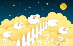 Counting sheep. Cartoon character happy jumping sheep Stock Photo