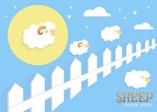 Counting sheep. Cartoon character happy jumping sheep. Sweet dreams Stock Image
