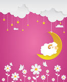 Counting sheep. Cartoon character happy sheep on moon. Sweet dreams Stock Photography