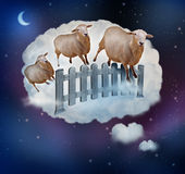 Counting Sheep. Concept as a symbol of insomnia and lack of sleep due to challenges in falling asleep as a group of farm animals jumping over a fence in a dream vector illustration
