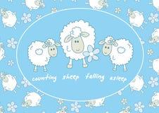 Counting sheep falling asleep Royalty Free Stock Image