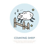 Counting sheep illustration. Modern vector line icon of jumping sheep. Insomnia linear logo. Outline symbol for sleep problem Royalty Free Stock Images