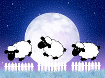 Counting sheep. Illustration of counting sheep in the night Stock Photography