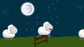 Counting Sheep that Jumping Above a Wooden Fence on a Full Moon Night stock video