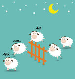 Counting Sheep Jumping Over Fence Royalty Free Stock Photos