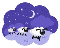 Counting sheep in the night background in a dream bubble isolate. Vector illustration of counting sheep in the night background in a dream bubble isolated Royalty Free Stock Photography