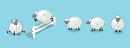 Counting sheep queue. Sheep queuing, counting sheep to fall asleep, vector illustration stock illustration