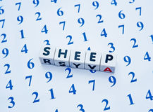 Counting sheep. Text ' sheep ' in black uppercase letters inscribed on white cubes placed upon an array of blue numbers a concept for counting sheep to get to Stock Photos