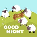 Counting sheep to fall asleep. Cartoon happy jumping sheep for baby. Cartoon character goat on meadow. Sweet dreams or insomnia. Good night sleep metaphor Royalty Free Stock Image