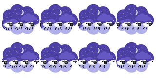 Counting sheep trotting in the night background in a dream bubble Royalty Free Stock Image