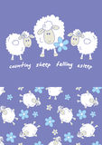 Counting sheep. Vector illustration a some sheep with matching repeat pattern Stock Photo