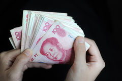 Counting stack rmb cash Stock Photography