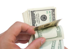 Counting stack of usd dollars Stock Photography