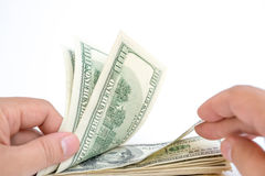 Counting stack of usd dollars with clipping path Stock Image