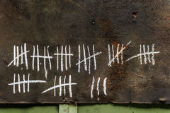 Counting with strikes on chalkboard Royalty Free Stock Photos
