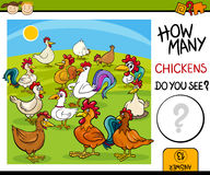 Counting task with chickens cartoon Royalty Free Stock Image