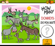 Counting task with donkeys cartoon. Cartoon Illustration of Kindergarten Educational Counting Task for Preschool Children with Farm Donkeys Royalty Free Stock Photography