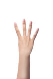 Counting woman hands ,number 4. Stock Photography