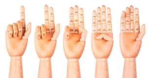 Counting wooden hands (1 to 5) Royalty Free Stock Photo