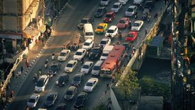 Countless Cars And People Crossing City Bridge In Evening stock video