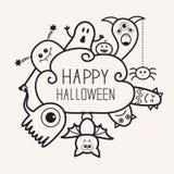 Ευτυχείς αποκριές countour περιγράφουν doodle Φάντασμα, ρόπαλο, κολοκύθα, αράχνη, σύνολο τεράτων Σύννεφο frme Άσπρο επίπεδο σχέδι Στοκ Φωτογραφία