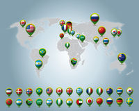 Countries 3D pins. Of the world map Stock Illustration