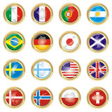 Countries. Gold medals with maps and flags from countries Stock Photos