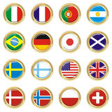 Countries. Art illustration: round medal with the flags of 16 countries Royalty Free Stock Images