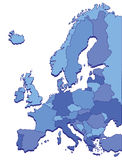 Countries of Europe in Blue Colors Stock Photos
