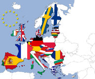 The 28 countries of the European Union. And their flags Royalty Free Stock Photography