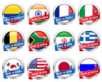 Countries flag silver badge with thumbs up sign on white background - vector eps10 Royalty Free Stock Photos