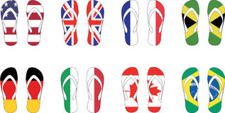 8 countries flag slippers Vector illustration. 8 countries flag flip-flop slippers Vector illustration Stock Image